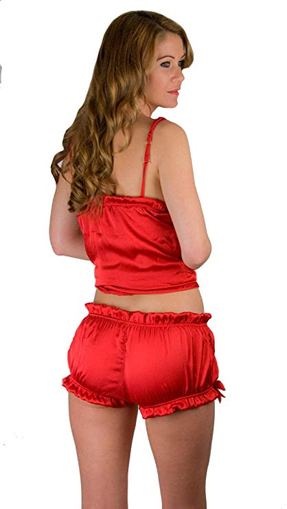 Damen Hot Pant Seide rot