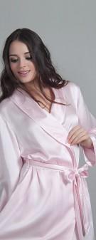 Damen Morgenmantel Seide - rosa