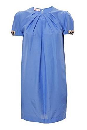 Damen Seidenkleid Himmelblau