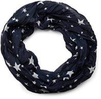 Damen Seidenschal Loopschal mit Sternen