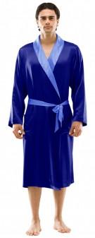 Herren Morgenmantel Seide - marineblau azurblau