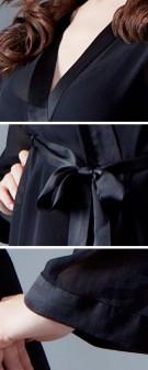 Kimono Seide Damen - schwarz