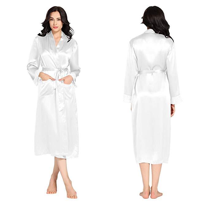LilySilk Damen-Hausmantel aus Seide weiß