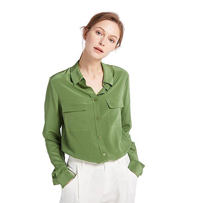 LilySilk Seidenbluse Hemdbluse grün
