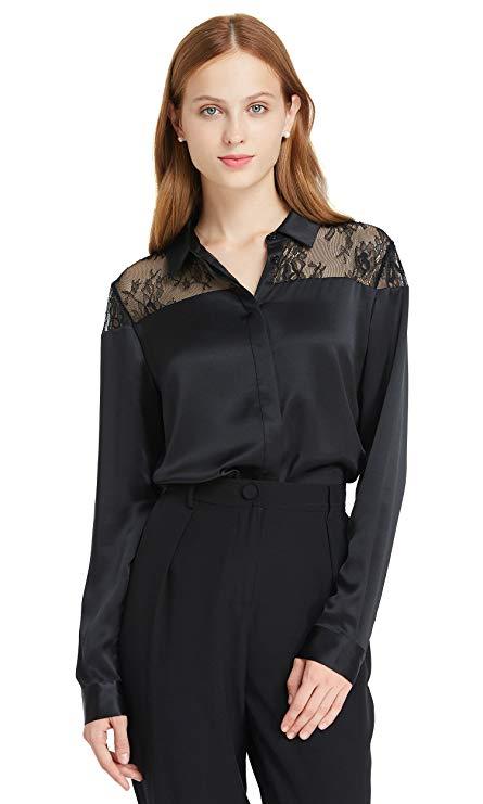 LilySilk Seidenhemd mit Spitze
