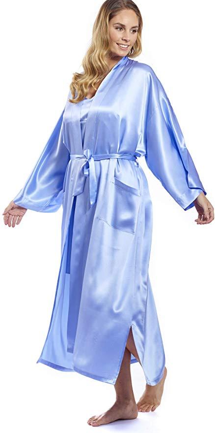 Morgenmantel / Kimono Seide blau