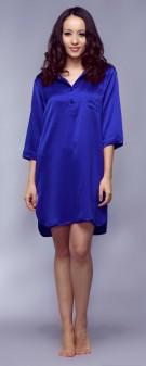Nachthemd Seide Damen - marineblau