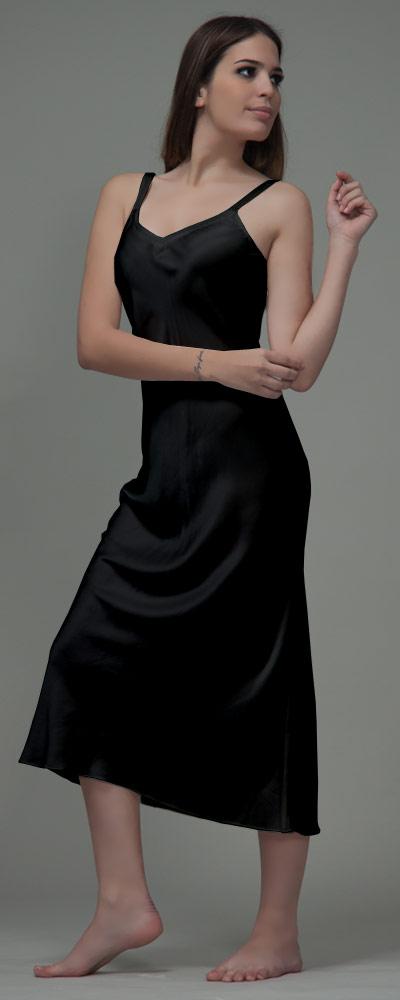 405e332eda75b2 Nachthemd Seide Damen - marineblau · Nachthemd Seide Damen - schwarz