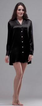 Nachthemd Seide Damen - schwarz