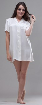 Nachthemd Seide Damen - weiß elfenbein