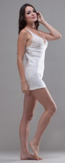 Neglige Seide Damen - elfenbein weiß