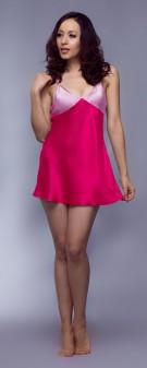 Neglige Seide Damen - rosenrot pink