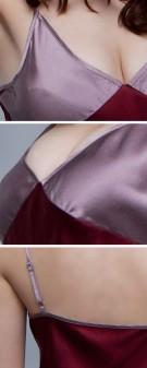 Neglige Seide Damen - rot grau
