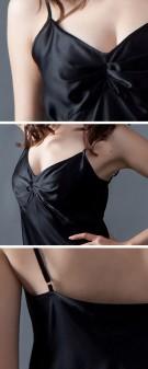 Neglige Seide Damen - schwarz