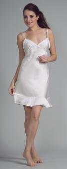 Neglige Seide Damen - weiß elfenbein