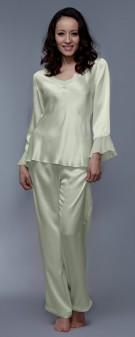 Seiden Pyjama Damen - apfelgrün