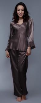 Seiden Pyjama Damen - braun grau