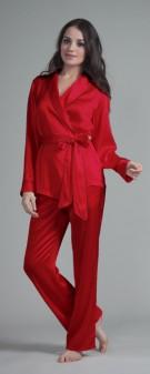Seiden Pyjama Damen - dunkelrot