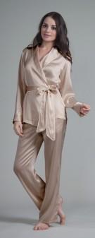 Seiden Pyjama Damen - khaki