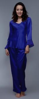Seiden Pyjama Damen - marineblau