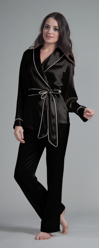 3f3987a6fa ... Seiden Pyjama Damen - schwarz ...