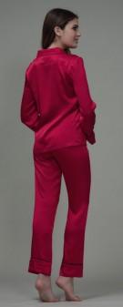 Seiden Pyjama Damen - weinrot