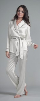 Seiden Pyjama Damen - weiß elfenbein