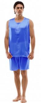 Seiden Pyjama Herren - azurblau