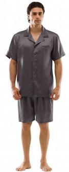 Seiden Pyjama Herren - braun grau