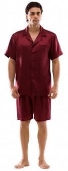 Seiden Pyjama Herren - dunkelrot