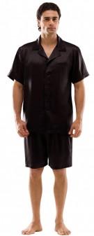 Seiden Pyjama Herren - schwarz
