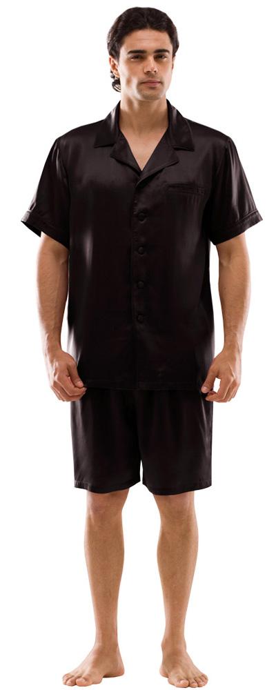 kurzer herren pyjama mit kent kragen und knopfleiste. Black Bedroom Furniture Sets. Home Design Ideas