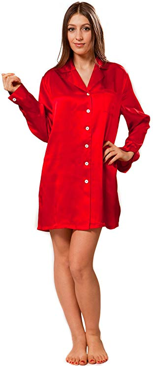 Seiden Sleepshirt Damen rot