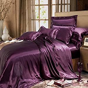Bettbezug aus Seide dunkellila