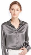 Seidenhemd Damen grau