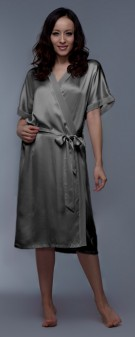 Seidenkimono Damen - braun grau