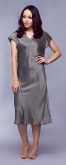 Seidennachthemd Damen - braun grau