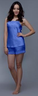 Seidenpyjama Damen - azurblau