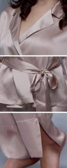 Seidenpyjama Damen - khaki