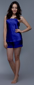 Seidenpyjama Damen - marineblau