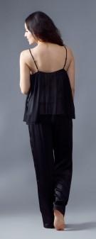 Seidenpyjama Damen - schwarz