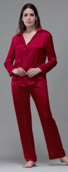 Seidenpyjama Damen - weinrot