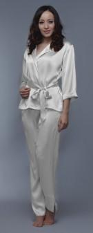 Seidenpyjama Damen - weiß elfenbein