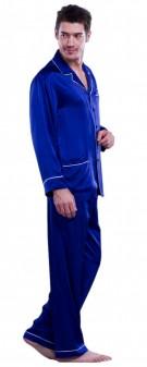 Seidenpyjama Herren - marineblau
