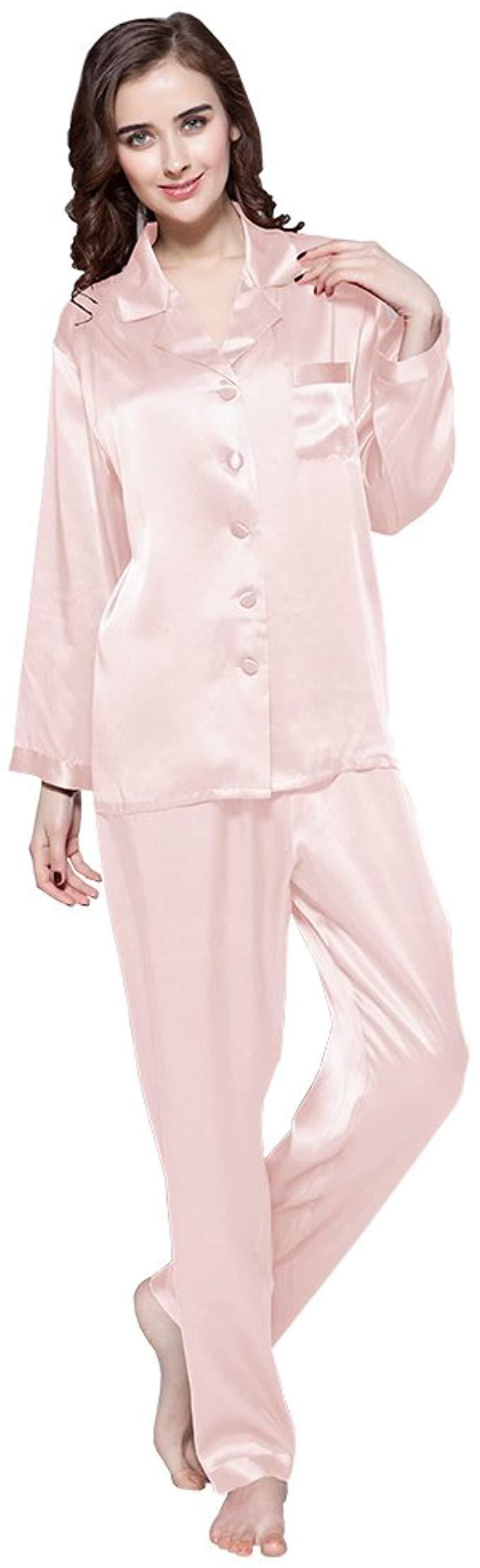 Seidenschlafanzug Damen hellrose