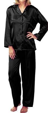 meet 1be96 9bea4 Bequemer Satin Pyjama in Schwarz versandkostenfrei kaufen ...